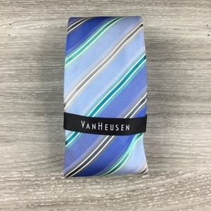 Van Heusen Blue, Green & Gray Stripped Silk Tie